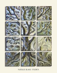 Natalie Blake Studios ceramic tile ~ Tree of Life ~ carved mosaic for interior or exterior wall art or backsplash applications ~ handmade in Brattleboro, Vermont