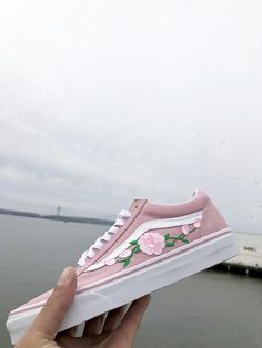 Pink Vans old skool custom vans shoes Vans old skool rose