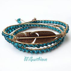 Blue wrap bracelet bronze feather wrap bracelet by MSwithlove