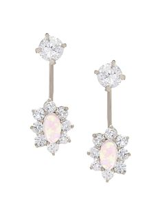 14K White Gold CZ Telephone Earrings with Oval Moonstone