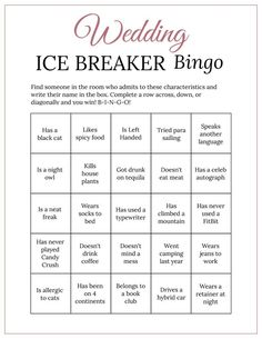 Bridal Shower Ice Breaker Game Rose Gold Wedding Human Bingo image 1 Blush Bridal Showers, Bridal Shower Games, Bingo Cards, Printable Cards, Wedding Printable, Ice Breaker Bingo, Human Bingo, Wedding Party Games, Wedding Ideas