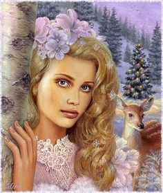 Female portrait by Bulgarian painter Maria Ilieva Illustration Noel, Mural Painting, Paintings, Coloring Book Pages, Bunt, Fantasy Art, Decoupage, Gifs, Retro