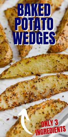 These Easy Baked Potato Wedges come together so fast, and make such a great side dish for so many dinners! With only three ingredients, this is a side dish that can't be beat. Roasted Smashed Potatoes, Roasted Potato Wedges, Oven Roasted Asparagus, Asparagus Recipe, Rib Recipes, Side Dish Recipes, Cooker Recipes, Great Recipes, Favorite Recipes