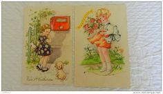 Lot de 2 CPA  fillettes  illustrateur non signé  Paillettes  Ste Catherine