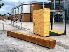 Ref 0804.03 Beam bench, Raploch Community Campus, Stirling, Scotland. #landscape architecture, #street furniture, #seating, #site furnishings