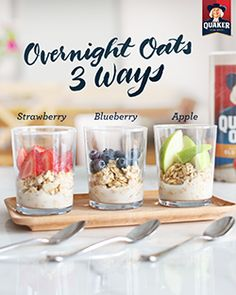 3 flavors, 1 flight of Quaker® overnight oats to try at breakfast! Mix equal amounts of milk and oats in a jar, separate into small containers, and top with your favorite fruit. You'll have one breakfast with three different sweet flavors to satisfy every tastebud.
