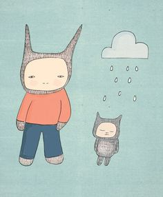 Cute Animal Art Print- Mr Rabbit and Fred - Clouds and Raindrops Illustration via Etsy