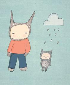 Nursery Art Print - Mr Rabbit and Fred Illustration. $20.00, via Etsy.