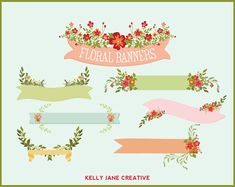 Floral Banners Laurels Bouquet Clip Art Blog by KellyJSorenson, $5.00