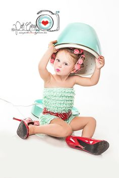 Cute #kids: Retro styled little girl in curlers and high heels! #models