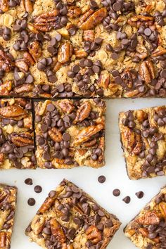 The best ever Chocolate Chip Cookies with sea salt and slow roasted pecans- they take the cookies to a whole new level! Buttery, sweet and salty! Pecan Rolls, 16 Bars, Oatmeal Bars, Oatmeal Cookies, Candied Pecans, Chip Cookies, Bar Cookies, Cookie Bars, Cookie Swap