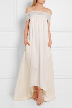 SELF-PORTRAIT Bardot beautiful ivory guipure lace-trimmed satin gown Budget Wedding Dress, Chic Wedding Dresses, Affordable Wedding Dresses, Wedding Dress Trends, Wedding Dress Styles, Bridal Dresses, Bridesmaid Dresses, 2017 Wedding, Boho Wedding