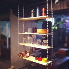 Upcycled pallet & chain hanging shelves (adjustable)!