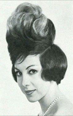This style breaks the time-space continuum. This style breaks the time-space continuum. High Hair, High Updo, 60s Hair, Beehive Hair, Crazy Hair, Weird Hair, Retro Hairstyles, Bad Hair Day, Hair Humor