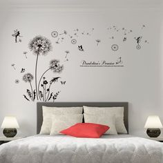Black Color Dandelions Wall Stickers Vinyl DIY Flower Wall Decals – I sell what I love Living Room Bedroom, Bedroom Wall, Bedroom Decor, Wall Decor, Diy Hanging Shelves, Floating Shelves Diy, Flower Wall Decals, Flower Mural, Diy Home Decor Projects