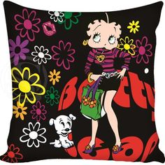 Custom Decorative Pillowcase Betty Boop Square Zippered Pillow Cover
