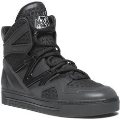 Marc by Marc Jacobs Ninja Hi-Top Sneaker ($378) ❤ liked on Polyvore featuring shoes, sneakers, black hi tops, black leather shoes, high top shoes, black lace up shoes y leather high top sneakers