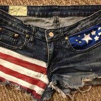 Custom American Flag Jean Shorts