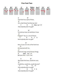 JPEG - 44.2 ko. Five Foot Two Uke Chords