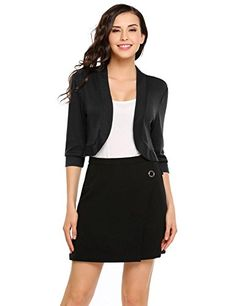 e4cb80e9695 Dickin Women Casual Open Front Slim Fit Solid 3 4 Sleeve Shrug Bolero  Cardigan at Amazon Women s Clothing store