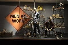 Men at Work, pinned by Ton van der Veer - imagine it in a kids boutique window with mannequin boys playing with blocks or Legos