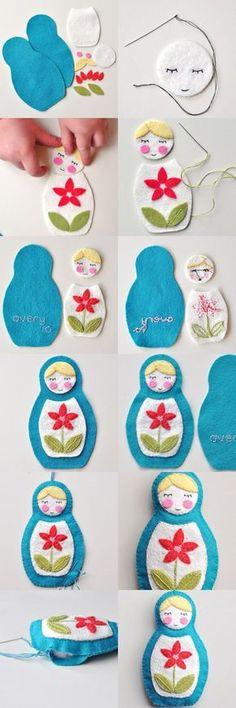 Russia matryoshka dolls in felt; Felt Diy, Felt Crafts, Fabric Crafts, Sewing Crafts, Sewing Projects, Craft Projects, Projects To Try, Diy Crafts, Felt Fabric