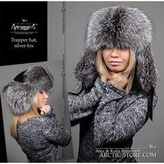 silver fox trapper hat from Russia