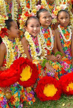 The children or 'keiki' from Halau Hula O Hokulani at the Lei Day Festivities, Waikiki, Honolulu, Hawaii