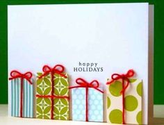 Easy DIY Holiday Crafts Parcels with Tiny Red Bows Click pic for 25 Handmade Christmas Cards Ideas for Kids Guest Post by Alicia Lawrence: Five Creative DIY Christmas Cards Homemade Christmas Cards, Homemade Cards, Christmas Presents, Christmas Decorations, Christmas Packages, Christmas Ideas, Merry Christmas, Christmas Present Card Ideas, Diy Xmas Cards Ideas