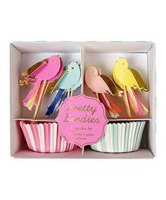 This Pretty Birdies Cupcake Kit by Meri Meri is perfect! #zulilyfinds