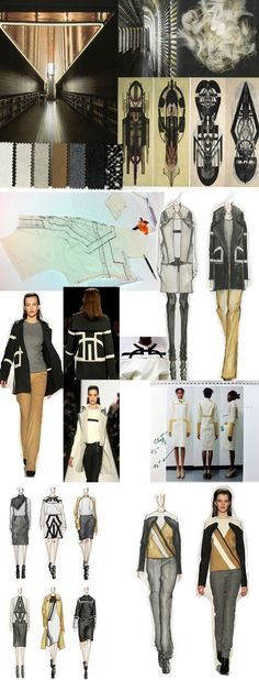 Fashion Sketchbook drawings, design development, pattern cutting and final line up // Di Wu, graduate collection