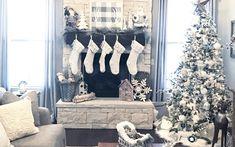 Farmhouse Christmas Decor with white and neutral touches.
