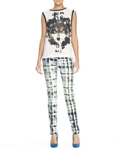 Wolf-Print Tank Top & Tile Camouflage Print Slim Pants by Faith Connexion at Bergdorf Goodman.