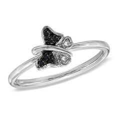 NEED this to match my necklace!!!  love it!  Enhanced Black and White Diamond Accent Stackable Butterfly Ring in Sterling Silver - View All Rings - Zales