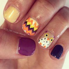 Fall owl nail art design