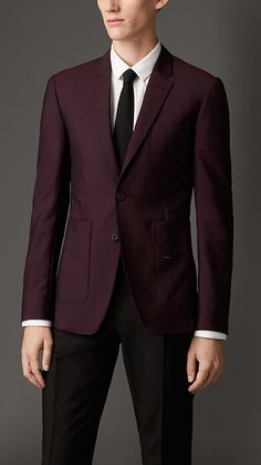 Burberry London Slim Fit Wool Mohair Blazer. Dark Winter rust looks like this. Dark, strongly pigmented, with a high amount of red. Truly incredible garment choice on this type of colouring.