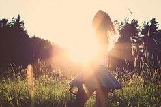 사람, 젊은, 여자, 소녀, 치마, 여름, 빛, 햇빛, 백라이트, 금발