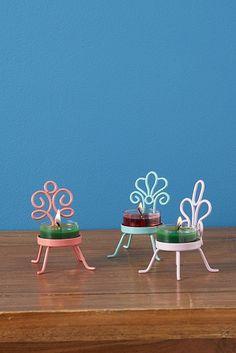 Trio de porte-bougies à réchaud Chaises de jardin