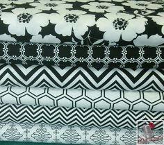 6 motifs, 1 de chaque motif, The Opposites Attrack, blanc, noir, Camelot Fabrics, bundle,