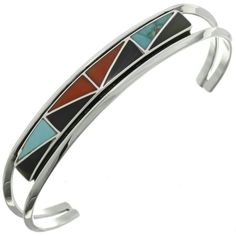 Turquoise Coral Inlaid Bracelet features a geometric pattern that works its way up & down in an eye-pleasing symmetry. Turquoise, Coral & Jet by Charlene Zunie. Coral Turquoise, Turquoise Jewelry, Silver Cuff, Silver Bracelets, Gold Lips, Coral Bracelet, Native American Jewelry, Vintage, Jewelery