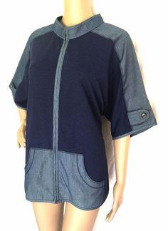 St. John Yellow Label Blue Cotton Blend & Knit Zip Up Jacket - Size L - EUC #StJohn #BasicJacket