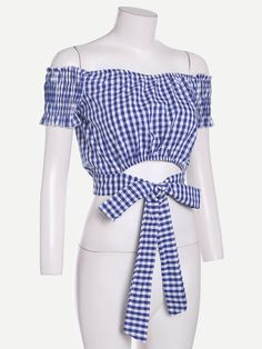 Online shopping for Checkered Tie Waist Crop Top from a great selection of women's fashion clothing & more at MakeMeChic. Blouse Styles, Blouse Designs, Crop Tops Online, Cargo Pants Women, Black Sleeveless Top, Looks Chic, Cute Fashion, Women's Fashion, Shirt Blouses
