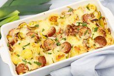 Ovenschotel met prei en rookworst - <30 minuten   SmaakMenutie Healthy Meals For Kids, Kids Meals, Healthy Recipes, Love Food, A Food, Food And Drink, Quiche, Cauliflower, Zucchini
