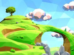 Low-poly landscape fragment (www.bogatyrsgame.com, 2014)