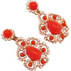 Vintage KJL Kenneth Jay Lane Faux Coral and White Rhinestone Dangle Pendant Earrings