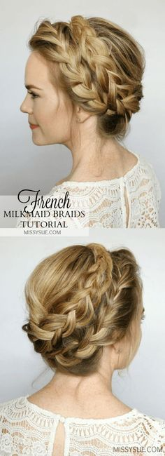 French Milkmaid Braids Updo Hair Tutorial Hats And Hair - Diy hairstyle knotted milkmaid braid
