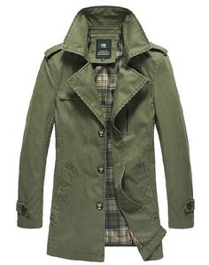 Business casual military Style retro man Long Jacket Coat Spring Autumn Army Green Black Khaki L066 on Etsy, $85.99