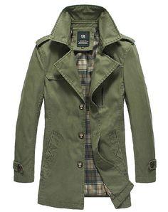 Business casual military Style retro man Long Jacket Coat Spring Autumn Army Green Black Khaki L066 on Etsy, $85.99