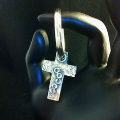 'GRACE'. a commissioned key fob made with PMC, fine silver. Two sided.  ~Rebecca Cole