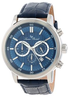 Lucien Piccard Men's 12011-03 Monte Viso Chronograph Dark Blue Textured Dial Dark Blue Leather Band Watch * Continue to the watch at the image link.